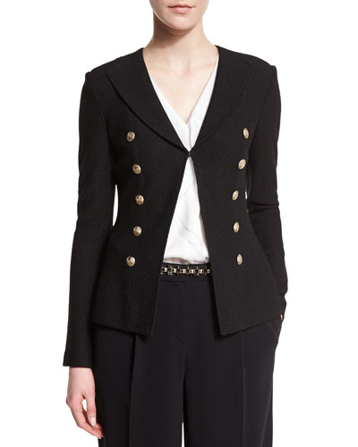 Boucle Faux Double-Breasted Jacket, Caviar