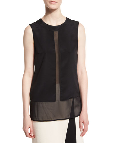 Silk Sheer-Panel Jewel-Neck Shell, Caviar