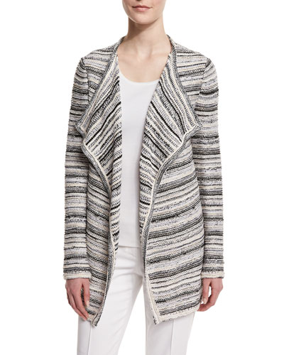Belessa Striped Side-Slit Cardigan, Caviar/Alabaster
