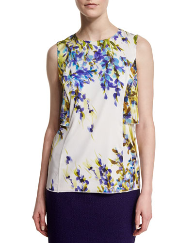 Budding Floral-Print Silk Shell, Bianco/Multi