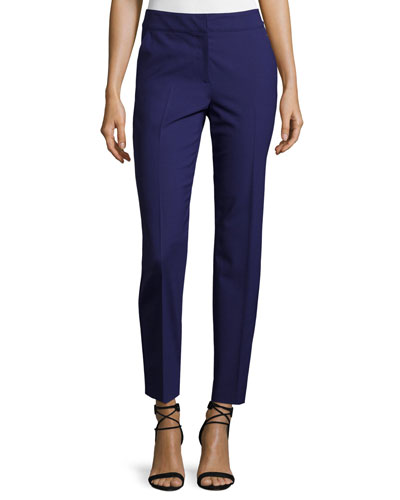 Emma Modern Stretch Tropical Wool Pants, Viola