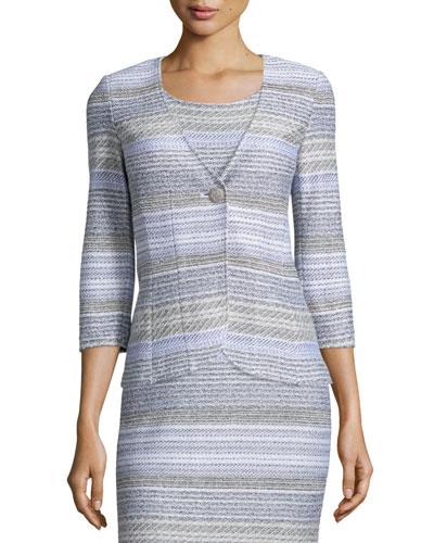 Raya Knit 3/4-Sleeve Jacket, Bianco/Multi