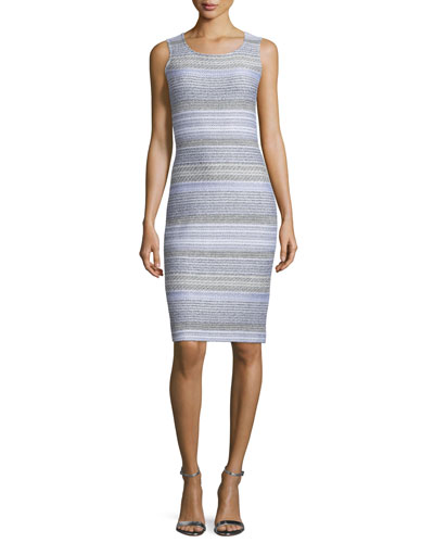 Raya Knit Scoop-Neck Sheath Dress, Bianco/Multi