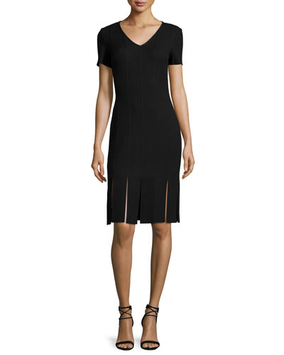 Moda Knit V-Neck Short-Sleeve Carwash Dress, Caviar
