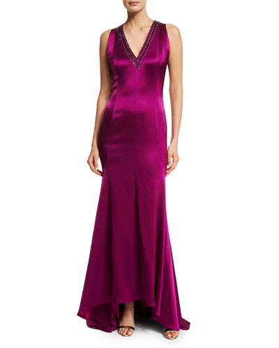 Liquid Satin Beaded V-Neck Gown, Dark Fiore