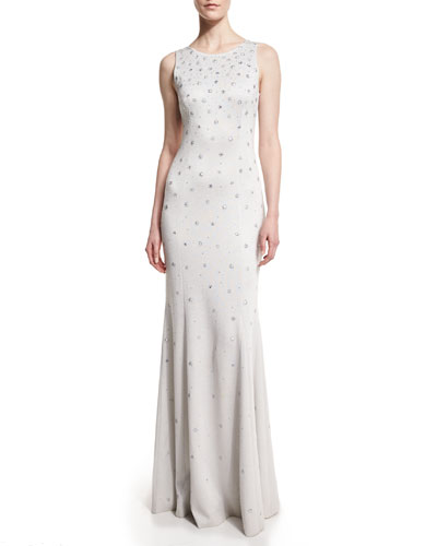 Shimmery Knit Sleeveless Gown, Silver