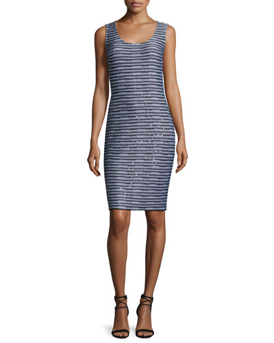San Pietro Scoop-Neck Sheath Dress, Caviar/Multi