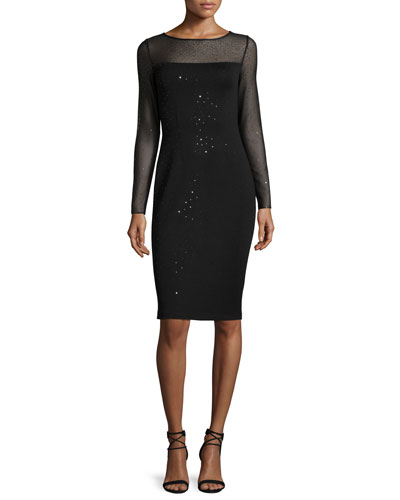 Shimmery Milano Knit Long-Sleeve Sheath Dress, Caviar