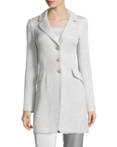 Allure Shimmery Knit Three-Button Jacket, Platinum