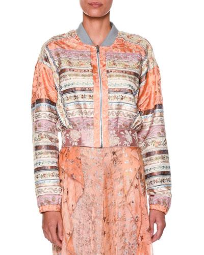 Long-Sleeve Ribbon Bomber Jacket, Peach/Pink/Multi