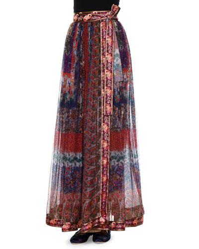 Plisse A-Line Skirt W/Ribbon Trim, Purple/Multi
