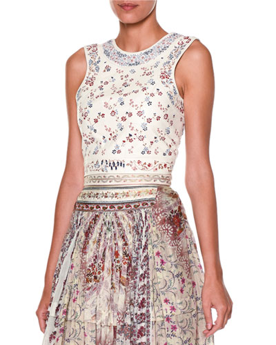 Embroidered-Leather Lace-Up Top, White/Multi