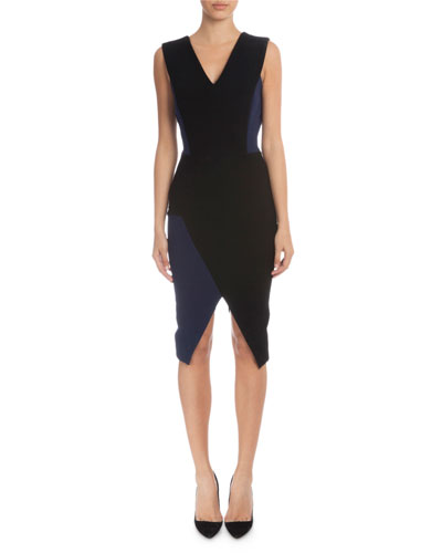Sleeveless V-Neck Sheath Dress, Black/Navy