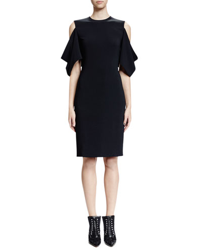 Cold-Shoulder Half-Sleeve Sheath Dress, Black