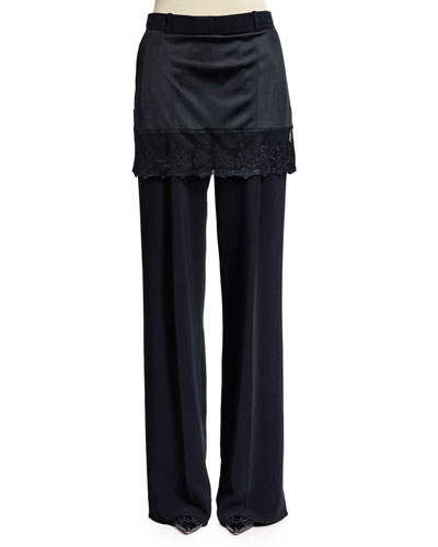 Lace-Trim Skirt Pants, Black
