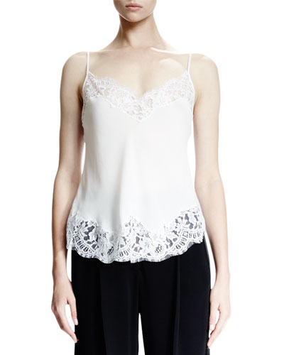 Lace-Trim Underpinning Camisole, White