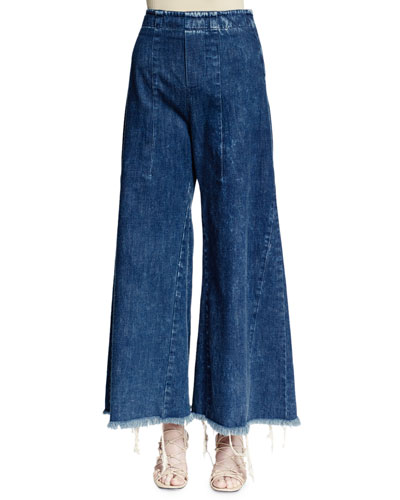 Wide-Leg Raw-Hem Cropped Jeans, Acid