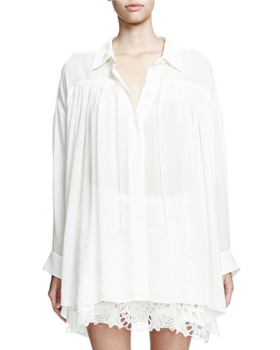 Long-Sleeve Poet Blouse W/Self Tie, Milk