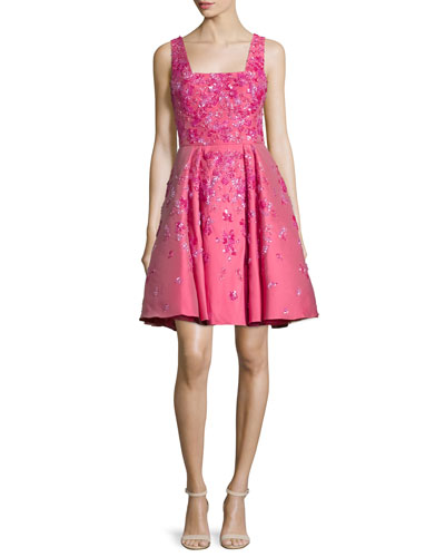 Sleeveless Floral-Embellished Dress, Rose Red