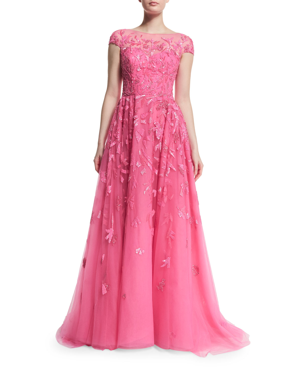 Cap-Sleeve Embellished Ball Gown, Shocking Pink