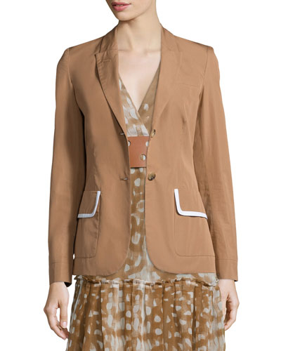 Two-Button Jacket W/Contrast Trim, Caramel
