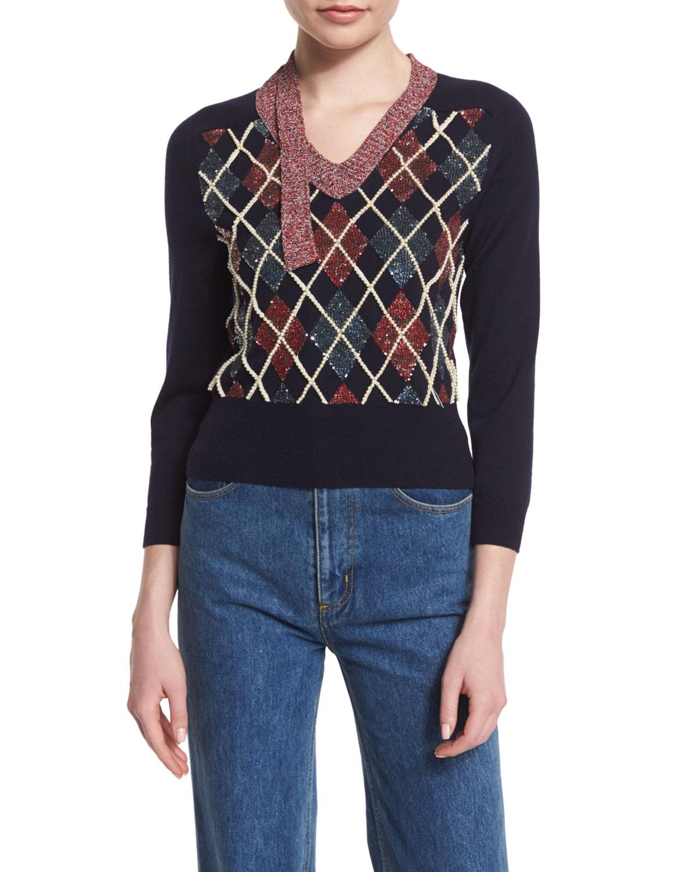 3/4-Sleeve Embellished Argyle Sweater, Navy