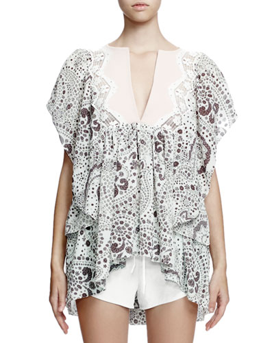 Flutter-Sleeve Embroidered Blouse, Daisy Print