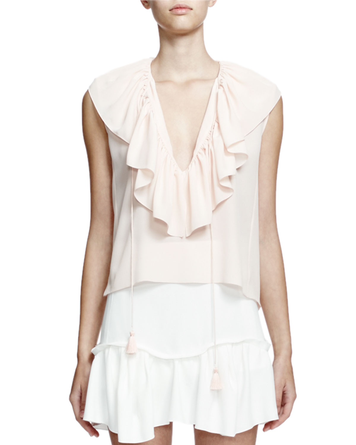 Sleeveless V-Neck Ruffle Blouse, Fresh Pink