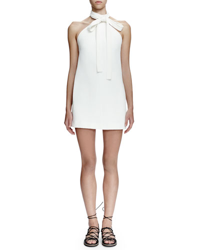Halter Tie-Neck Sheath Dress, Milk