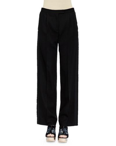 Flat-Front Tuxedo Trousers, Black