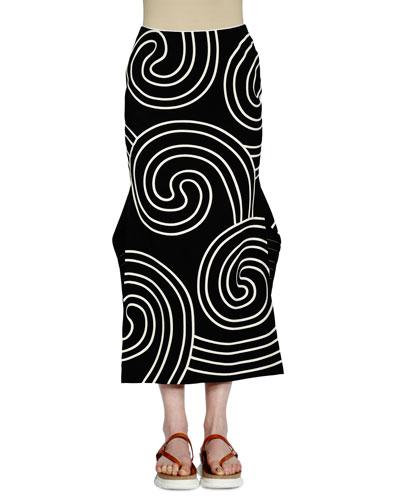 Mid-Rise Fluted Midi Skirt, Black