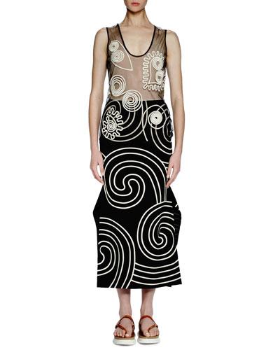 Sleeveless U-Neck Embroidered Tunic, Black