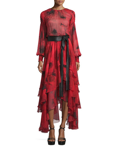 Long-Sleeve Tiered Silk Peasant Gown, Crimson