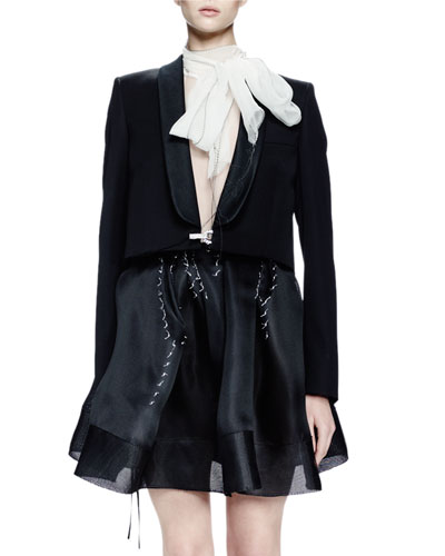 Long-Sleeve Shawl-Collar Jacket, Black