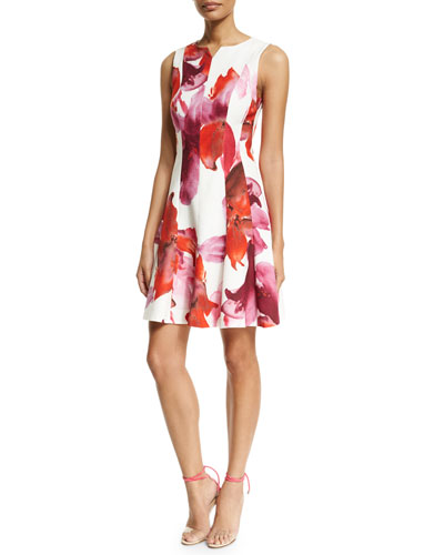 Sleeveless Floral-Print Fit-&-Flare Dress, Pink/Red