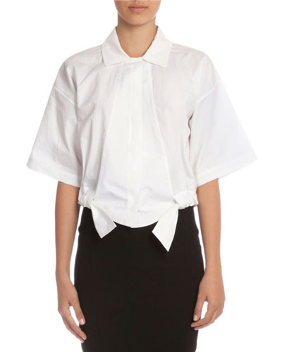 Wide Chop Short-Sleeve Cropped Blouse, White