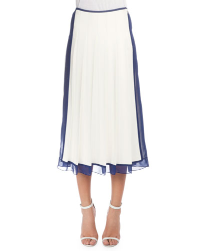 Pleated Skirt W/Sheer Trim, White/Blue