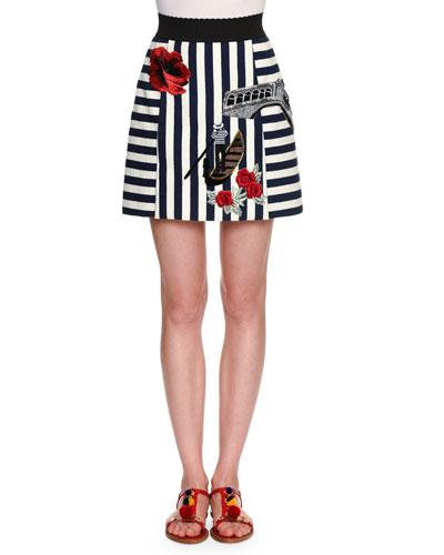 Embroidered Striped Short Skirt, Black/Red/White