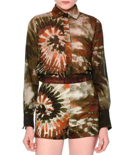 Long-Sleeve Tie-Dye Boyfriend Blouse, Orange/Green