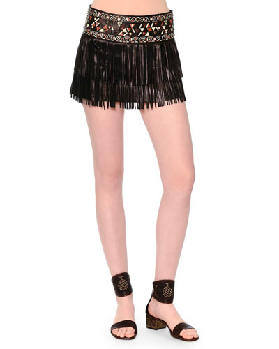 Leather Fringe Mini Skirt W/Painted Waistband, Black