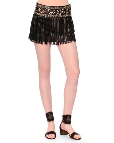 Leather Fringe Mini Skirt W/Painted Waistband, Black
