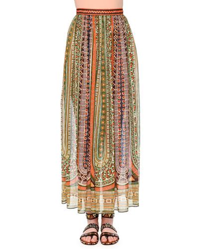 Pleated Ankle-Length Skirt, Orange/Green