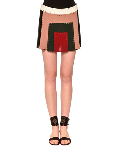 Embellished Patchwork Mini Skirt, Multi Colors