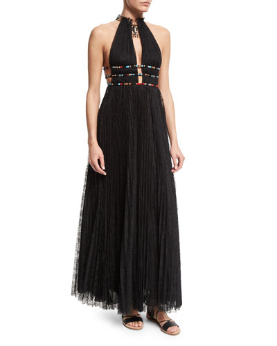 Halter-Neck Lace Gown W/Elephant Necklace, Black