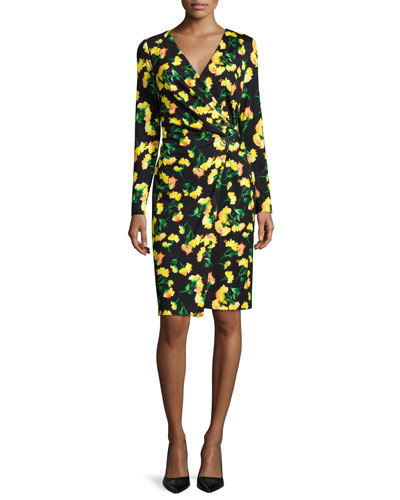 Long-Sleeve Faux-Wrap Dress, Carnation