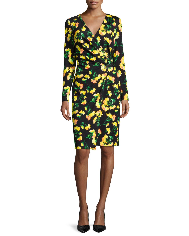 Long-Sleeve Faux-Wrap Dress, Carnation