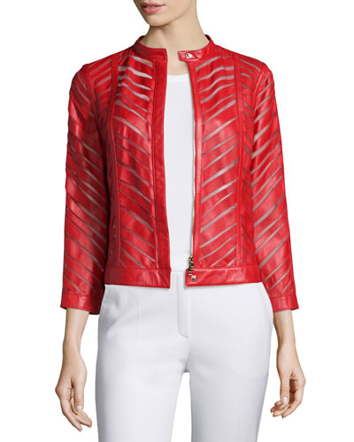 Zip-Front Laser-Cut Leather Jacket, Cherry