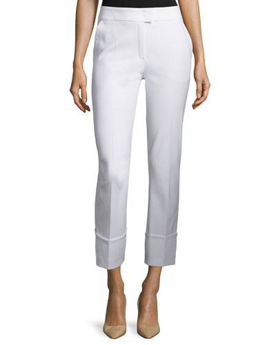 Tiberla Folded-Cuff Cropped Pants, White