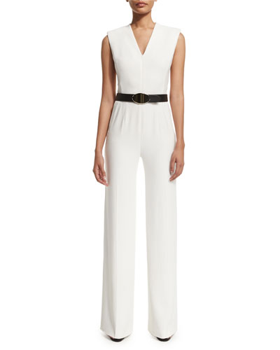 Sleeveless Zip-Front Belted Jumpsuit, Frost