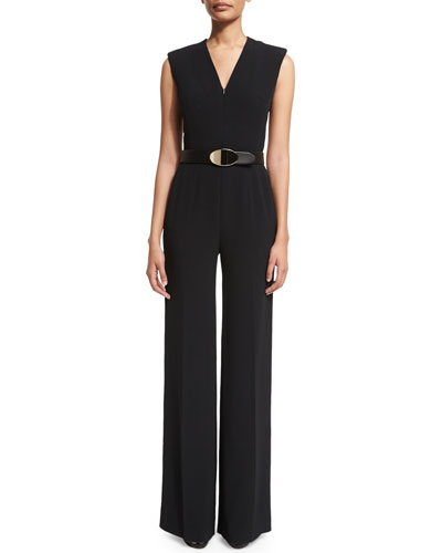 Sleeveless Zip-Front Belted Jumpsuit, Black